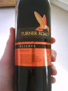 A bottle of Turner Road Melot red wine