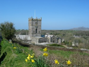 St. David's Cathedral and daffodils