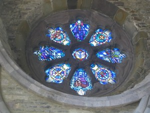 Stained glass window from inside the Cathedral