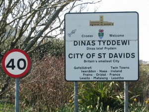 Welcome to St. David's signpost