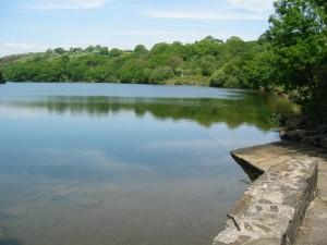 Alongside the lower Lliw reservoir