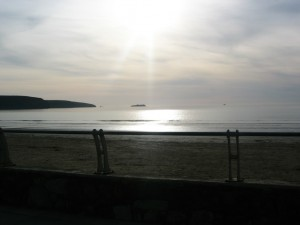 An evening view of Broad Haven beach