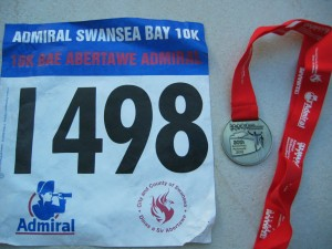 My race number of finishing medal