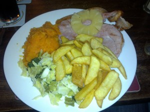 Gammon steak with trimmings