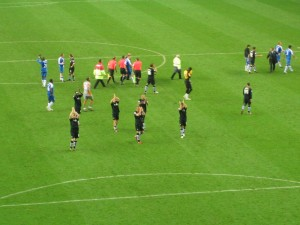 Players applauding the fans