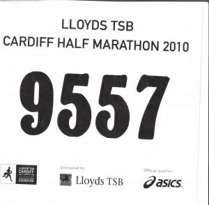 My Cardiff Half Marathon number