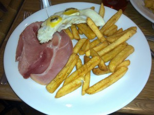 Wafer thin ham, egg and chips