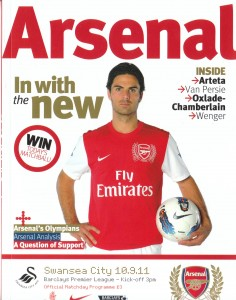 Arsenal v Swansea matchday programme cover