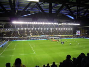 The teams line up at Goodison Park