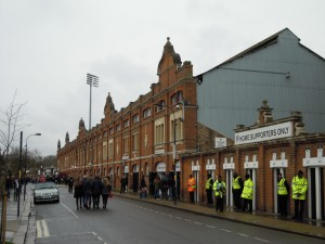 Outside the Johnny Haynes Stand at Craven Cottage