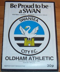 Swansea City v Oldham Athletic October 1980