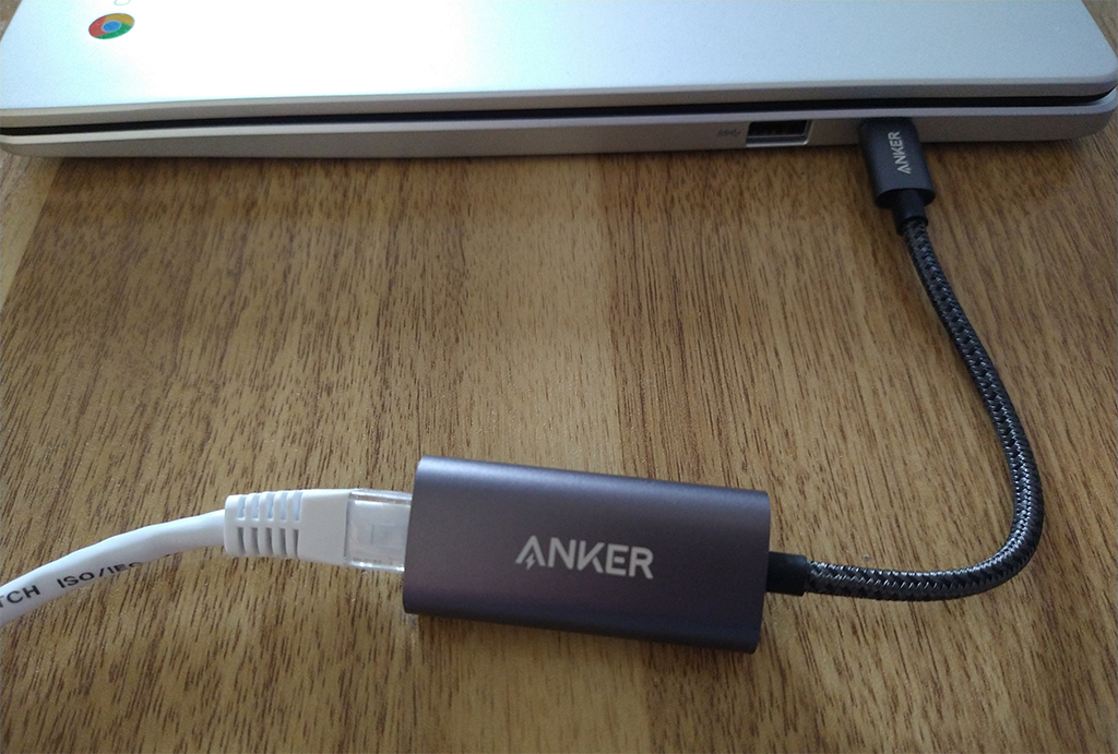Anker PowerExpand USB-C to Gigabit Ethernet Adapter in use with an ASUS Chromebook
